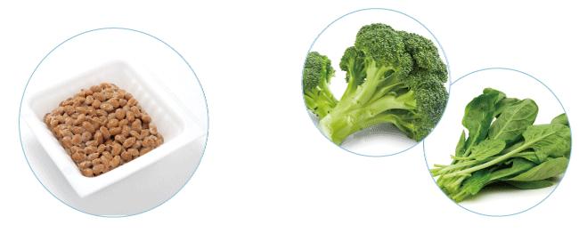 カルシウム、牛乳・乳製品、小魚、干しエビ、小松菜、チンゲン菜、大豆製品など
